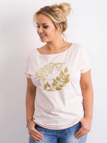 Różowy t-shirt plus size z nadrukiem roślinnym