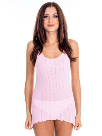 Różowy top piżamowy w drobny ażurowy wzór