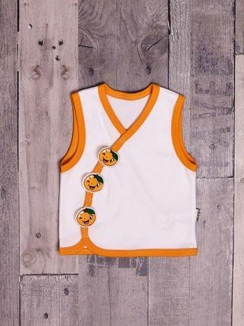 Rozpinana bawełniana bluzka niemowlęca bez rękawów biało-pomarańczowa