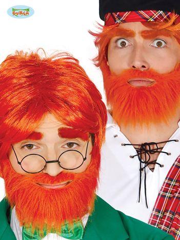 Ruda peruka z brodą i wąsami