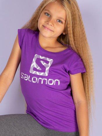 SALOMON Fioletowy t-shirt dla dziewczynki