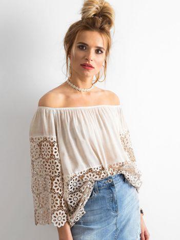 SCANDEZZA Beżowa bluzka hiszpanka