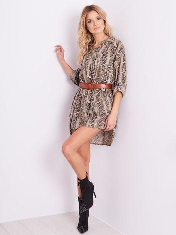 SCANDEZZA Beżowa sukienka animal print