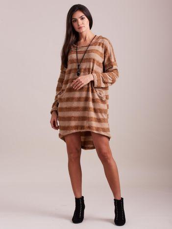 SCANDEZZA Beżowa sukienka w paski