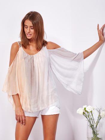SCANDEZZA Beżowo-szara bluzka ombre bez ramion z cekinami