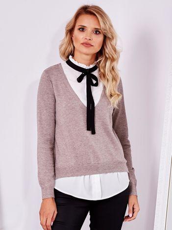SCANDEZZA Beżowy sweter z koszulą