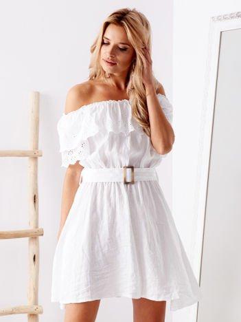 SCANDEZZA Biała sukienka hiszpanka z haftem angielskim