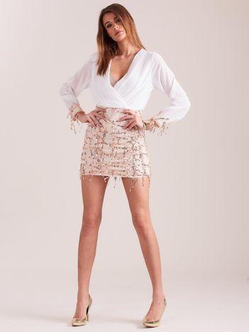 SCANDEZZA Biała sukienka z cekinami