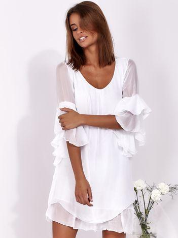 SCANDEZZA Biała zwiewna sukienka z hiszpańskimi rękawami