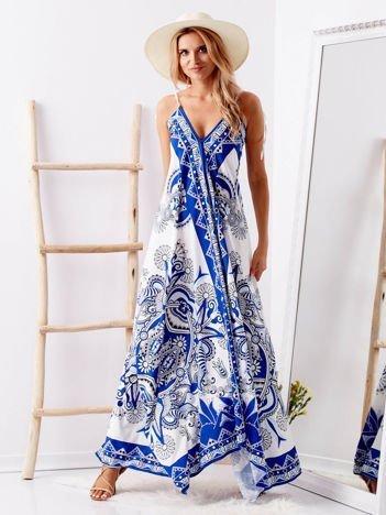 SCANDEZZA Biało-niebieska wzorzysta sukienka z dłuższym tyłem