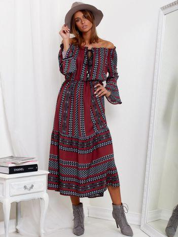 SCANDEZZA Bordowa sukienka maxi hiszpanka ze wzorem