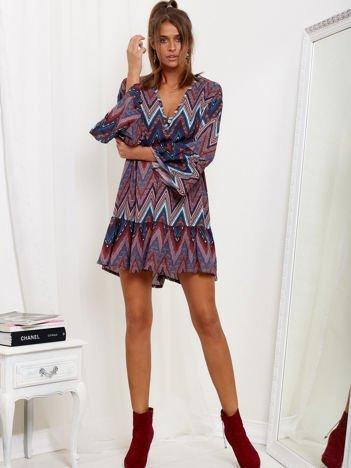 SCANDEZZA Bordowo-turkusowa sukienka w geometryczny nadruk