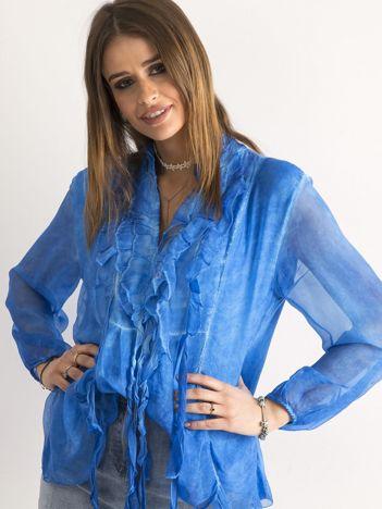 SCANDEZZA Ciemnoniebieska bluzka z żabotem