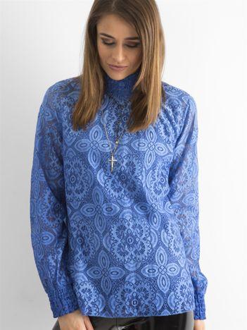 SCANDEZZA Ciemnoniebieska koronkowa bluzka