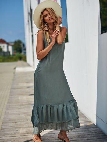SCANDEZZA Ciemnoszara długa sukienka z falbaną