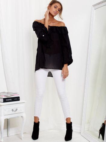 SCANDEZZA Czarna bluzka hiszpanka z wiązaniem i dłuższym tyłem