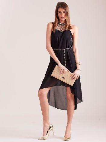 SCANDEZZA Czarna sukienka z aplikacją