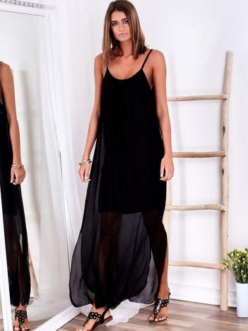 SCANDEZZA Czarna zwiewna sukienka maxi