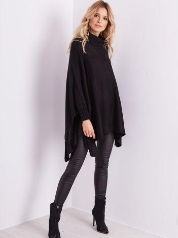 SCANDEZZA Czarny asymetryczny sweter z golfem