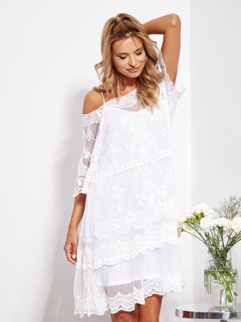 SCANDEZZA Ecru luźna sukienka z oddzielną halką