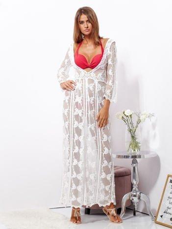 SCANDEZZA Ecru maxi sukienka plażowa z głębokim dekoltem