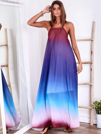 SCANDEZZA Fioletowa długa sukienka wiązana na szyi