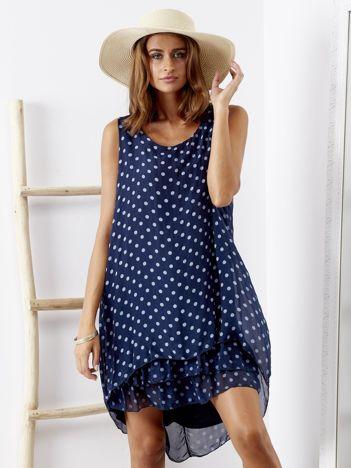 SCANDEZZA Granatowa sukienka w grochy