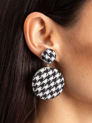 SCANDEZZA Kolczyki damskie pokryte materiałem z wzorem typu pepitka biało-czarne