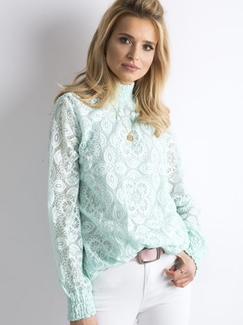 SCANDEZZA Miętowa koronkowa bluzka
