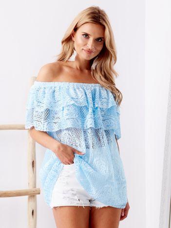 SCANDEZZA Niebieska koronkowa bluzka hiszpanka