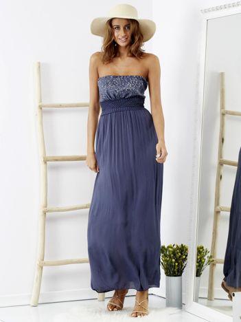 SCANDEZZA Niebieska sukienka maxi z cekinową górą
