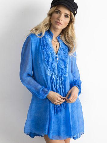 SCANDEZZA Niebieska sukienka z żabotem