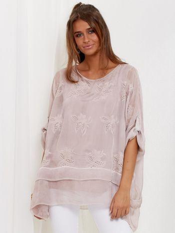 SCANDEZZA Pudroworóżowa zwiewna bluzka oversize z haftem