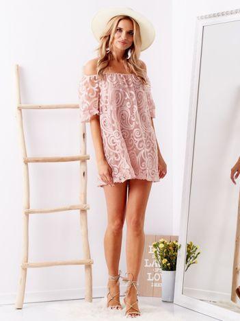 SCANDEZZA Różowa bluzka hiszpanka w ozdobne wzory