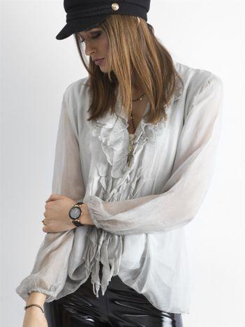 SCANDEZZA Szara bluzka z żabotem