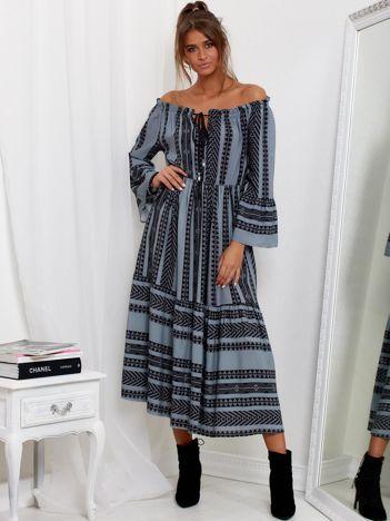 SCANDEZZA Szara sukienka maxi hiszpanka ze wzorem