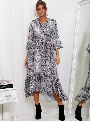 SCANDEZZA Szaro-różowa sukienka maxi z nadrukiem snake skin