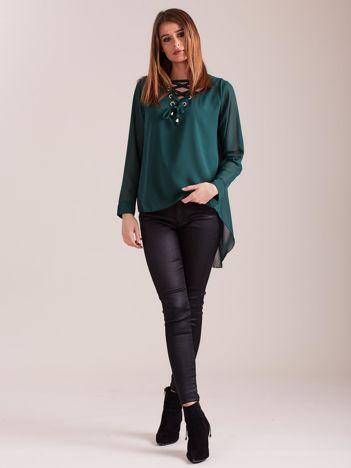 SCANDEZZA Zielona bluzka ze sznurowaniem