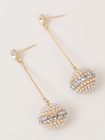 SCANDEZZA  Złote kolczyki damskie kullki zdobione perełkami i cyrkoniami