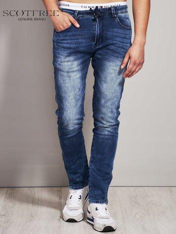 SCOTFREE Ciemnoniebieskie jeansy męskie z troczkami