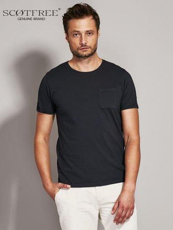 SCOTFREE Czarny t-shirt męski z kieszonką