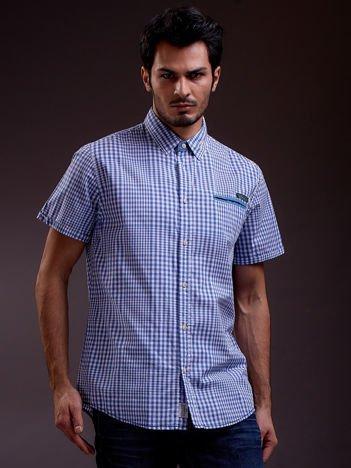 SCOTFREE Niebieska koszula męska w kratkę