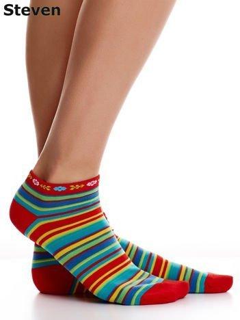 STEVEN Czerwone skarpety bawełniane stopki we wzór pasków