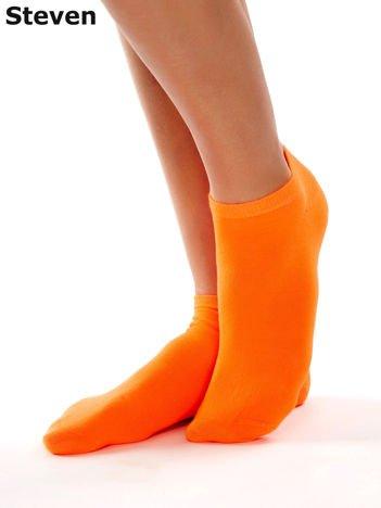 STEVEN Fluopomarańczowe krótkie skarpety bawełniane