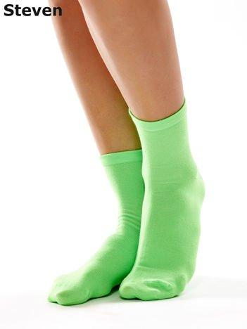 STEVEN Gładkie zielone skarpety damskie