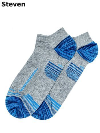 STEVEN Szaro-niebieskie męskie skarpety krótkie