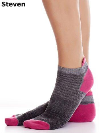 STEVEN Szaro-różowe bawełniane skarpety sportowe stopki