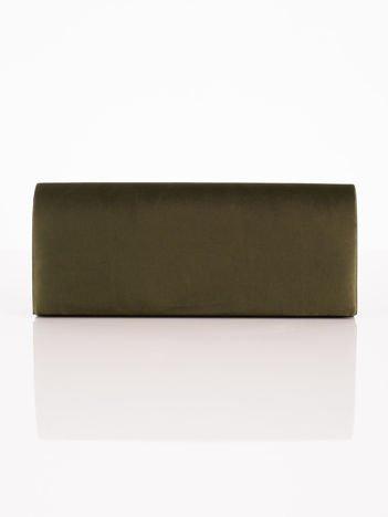 Satynowa gładka kopertówka z lusterkiem khaki