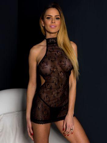 Seksowny czarny komplet nocny koszulka z półgolfem i stringi
