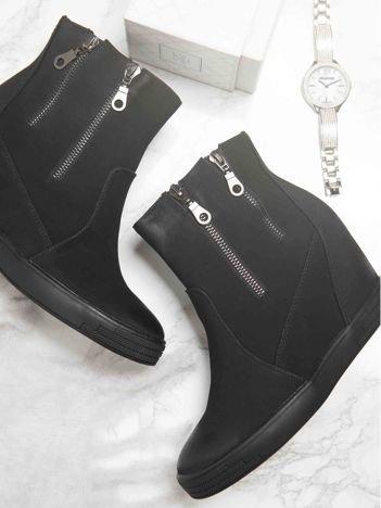 Sergio Leone czarne przecierane sneakersy z ozdobnymi suwakami na boku cholewki